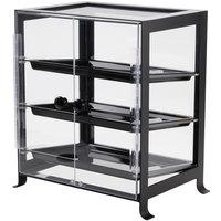 Cal-Mil 1574-13 Soho Three Tier Black Display Case with Rear Door - 17 1/4 inch x 12 3/4 inch x 20 3/4 inch