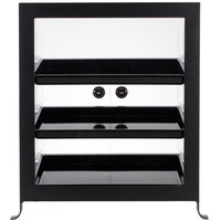 Cal-Mil 1574-13 Soho Three Tier Black Display Case with Rear Door - 17 1/4 inch x 12 3/4 inch x 20 3/4 inch