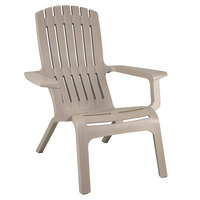 Grosfillex US444181 Westport Taupe Resin Stackable Outdoor Adirondack Chair