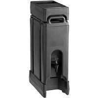 Cambro Camtainer 4.75 Gallon Black Insulated Beverage Dispenser with Black 4-Compartment Condiment Holder and 4 9/16 inch Riser