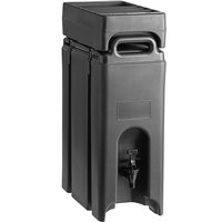 Cambro Camtainer 4.75 Gallon Black Insulated Beverage Dispenser with Black 4-Compartment Condiment Holder