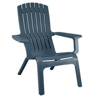 Grosfillex US444747 Westport Barn Blue Resin Stackable Outdoor Adirondack Chair