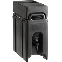 Cambro Camtainer 2.5 Gallon Black Insulated Beverage Dispenser with Black 4-Compartment Condiment Holder
