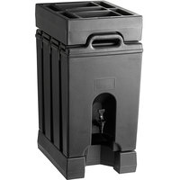 Cambro Camtainer 11.75 Gallon Black Insulated Beverage Dispenser with Black 7-Compartment Condiment Holder and 4 9/16 inch Riser