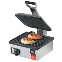 Vollrath 40790 Cayenne Single Panini Sandwich Press with Grooved Non Stick Plates - 13 5/16 inch x 12 3/16 inch Cooking Surface -120V, 1800W