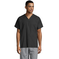 Uncommon Threads 6000 Black Customizable Short Sleeve V-Neck Cook Shirt - L