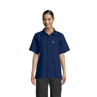 Uncommon Threads 0920 Navy Customizable Classic Short Sleeve Cook Shirt - XL