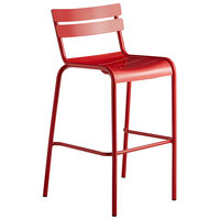 Lancaster Table & Seating Red Powder Coated Aluminum Outdoor Barstool