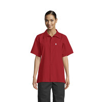 Uncommon Threads 0920 Red Customizable Classic Short Sleeve Cook Shirt - L