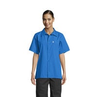 Uncommon Threads 0920 Royal Blue Customizable Classic Short Sleeve Cook Shirt - XL