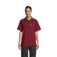Uncommon Threads 0920 Burgundy Customizable Classic Short Sleeve Cook Shirt - XS