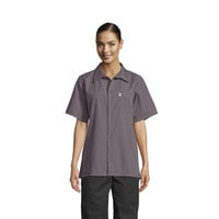 Uncommon Threads 0920 Slate Gray Customizable Classic Short Sleeve Cook Shirt - S