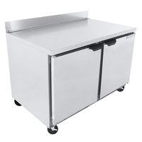 Beverage-Air WTRF48AHC-1-SA-B 48 inch Dual Temp Worktop Refrigerator / Freezer with Foamed-in-Place Backsplash