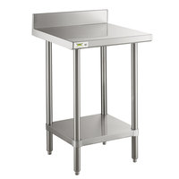 Regency 24 inch x 24 inch 16-Gauge Stainless Steel Commercial Work Table with 4 inch Backsplash and Undershelf