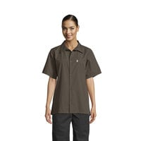 Uncommon Threads 0920 Olive Green Customizable Classic Short Sleeve Cook Shirt - L