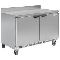 Beverage-Air WTRF50AHC-1-SA-B-FIP 50 inch Dual Temp Worktop Refrigerator / Freezer with 4 inch Foamed-in-Place Backsplash