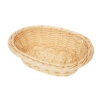 GET WB-1503-N Designer Polyweave 9 inch x 6 3/4 inch x 2 1/2 inch Natural Oval Plastic Basket - 12/Case