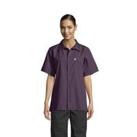 Uncommon Threads 0920 Eggplant Customizable Classic Short Sleeve Cook Shirt - L
