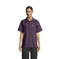 Uncommon Threads 0920 Eggplant Customizable Classic Short Sleeve Cook Shirt - XS
