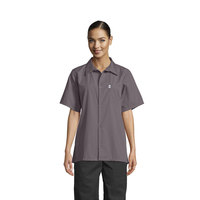 Uncommon Threads 0920 Slate Gray Customizable Classic Short Sleeve Cook Shirt - XS