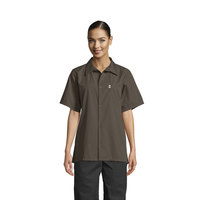 Uncommon Threads 0920 Olive Green Customizable Classic Short Sleeve Cook Shirt - XS