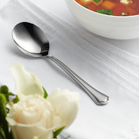 Acopa Sienna 6 3/16 inch 18/0 Stainless Steel Heavy Weight Bouillon Spoon - 12/Case