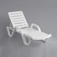 Lancaster Table & Seating White Stacking Adjustable Resin Chaise
