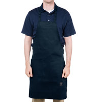Chef Revival Navy Blue Poly-Cotton Customizable Bib Apron with 1 Pocket - 34 inchL x 28 inchW