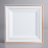 Gold Visions 10 inch Square White Plastic Plate with Rose Gold Bands - 120/Case