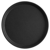 Choice 11 inch Black Round Non-Skid Serving Tray