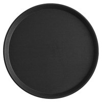 Choice 14 inch Black Round Non-Skid Serving Tray