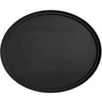 Choice 31 inch x 23 inch Black Oval Non-Skid Serving Tray
