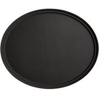 Choice 31 inch x 23 inch Black Oval Fiberglass Non-Skid Serving Tray