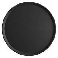 Choice 18 inch Black Round Non-Skid Serving Tray