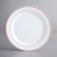 Gold Visions 10 inch White Plastic Plate with Rose Gold Bands - 12/Pack