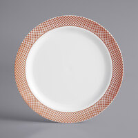 Gold Visions 7 inch White Plastic Plate with Rose Gold Lattice Design - 15/Pack