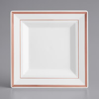 Gold Visions 6 inch Square White Plastic Plate with Rose Gold Bands - 12/Pack