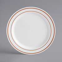 Gold Visions 6 inch White Plastic Plate with Rose Gold Bands - 15/Pack
