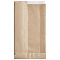 Choice 6 inch x 2 1/4 inch x 10 3/4 inch Kraft Window Sandwich / Bakery Bag   - 500/Case