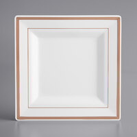 Gold Visions 8 inch Square White Plastic Plate with Rose Gold Bands - 10/Pack
