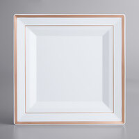 Gold Visions 10 inch Square White Plastic Plate with Rose Gold Bands - 12/Pack