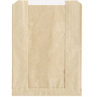 Choice 6 1/2 inch x 2 inch x 8 1/2 inch Kraft Grease-Resistant Window Cookie / Bakery Bag   - 500/Case