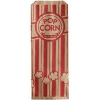Carnival King 3 3/4 inch x 1 3/4 inch x 9 1/2 inch 1.1 oz. Kraft Popcorn Bag - 1000/Case