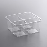 Fabri-Kal S6-4 Alur On-The-Go 4-Compartment Clear PET Container - 50/Pack