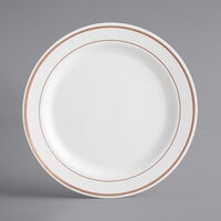Gold Visions 9 inch White Plastic Plate with Rose Gold Bands - 12/Pack