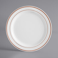 Gold Visions 7 inch White Plastic Plate with Rose Gold Bands - 15/Pack
