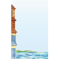 8 1/2 inch x 11 inch Menu Paper - Mediterranean Themed Venice Design Left Insert - 100/Pack