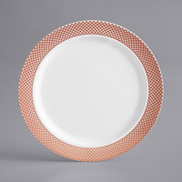 Gold Visions 6 inch White Plastic Plate with Rose Gold Lattice Design - 15/Pack