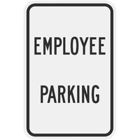 Lavex Industrial Employee Parking Black Aluminum Composite Sign - 12 inch x 18 inch