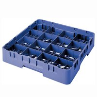 Cambro 16S434168 Camrack 5 1/4 inch High Customizable Blue 16 Compartment Glass Rack